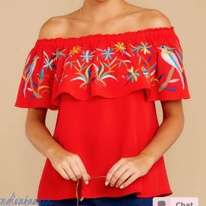 Tops - Embroidered Red Top - Sleeveless | Off Shoulder